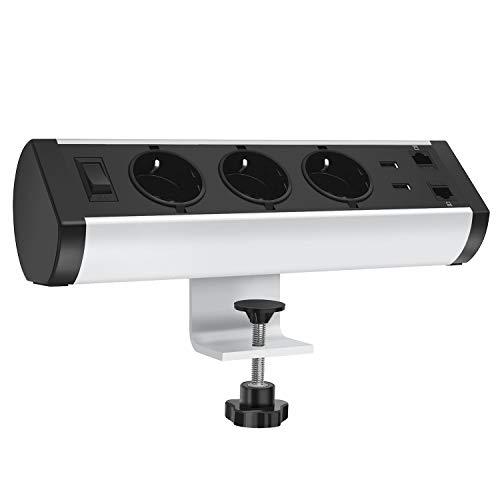 Tischsteckdose mit USB, 3-fach Tisch Steckdosenleiste mit 2 USB-Anschlüsse und 2 RJ45 Netzwerk-Verbindungs-Anschlüsse, Mehrfachsteckdose mit Überspannungsschutz und Schalter