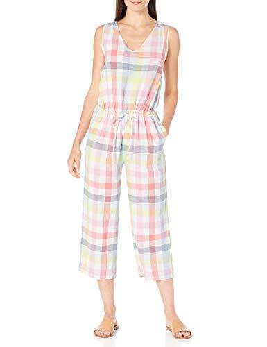 Amazon Essentials Sleeveless Linen jumpsuits-apparel, Rainbow Check, 48