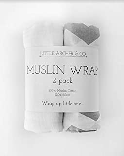 2 Pack 100% Organic Cotton Muslin Wraps, Gentle Against Sensitive Skin, Perfect Swaddle Blanket