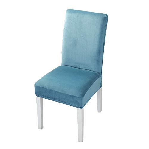 LZstrong Terciopelo Fundas para sillas de Comedor, Fundas para sillas de Gamuza de Microfibra elásticas, Fundas Protectoras Antipolvo para Asientos de sillas, para Comedor, Hotel, Boda (Blue,6Pcs)