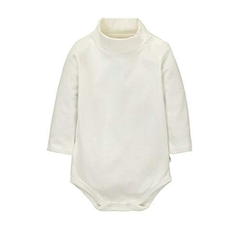 CuteOn bébé Garçons Filles Solide Couleur De base Col roulé Coton Bodysuit Top - Beige 6 Mois