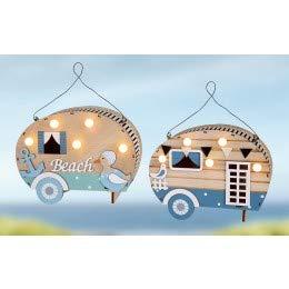 GILDE Wohnwagen Campingwagen aus Holz mit LED Licht,22x17x8cm