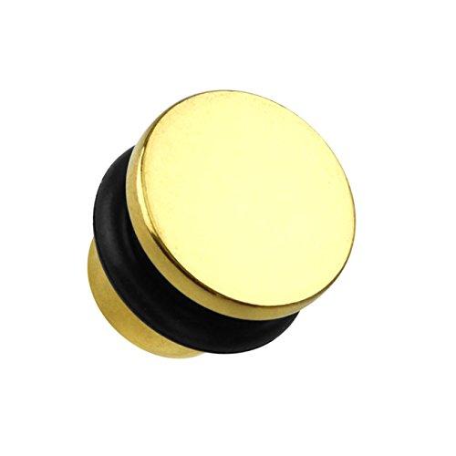 beyoutifulthings Ohr-Plug Flat TOP Ohr-Piercing Ohr-Schmuck Chirurgenstahl Tunnel Sattel-Verschluss Single Flair Gold 6mm