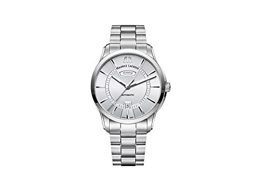 Maurice Lacroix Pontos Day Date Automatik Uhr, ML 115, Silber, 41mm, Stahlband
