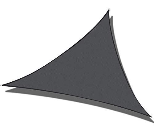 Sonnensegel Granit Dreieckig Sonnenschutz 90% PES Sichtschutz Windschutz Tarp UV Schutz Garten Terrasse Camping Schattenspender,Anthracite,4×4×4m