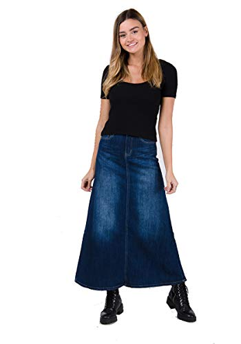Langer Jeansrock, Stonewash Maxiröcke Maxi-Rock Damen Mode Denim Jean LYDIA-14