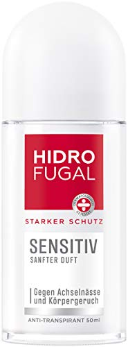Hidrofugal Sensitiv Roll-on (50 ml), starker Anti-Transpirant Schutz für empfindliche Haut mit sanftem Duft, Deo für starken Schutz ohne Ethylalkohol