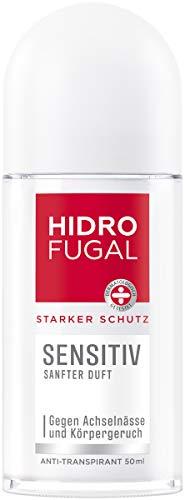 Hidrofugal Sensitiv Roll-on (50 ml), fuerte protección antitranspirante para pieles sensibles con suave aroma, desodorante para una fuerte protección sin alcohol etílico