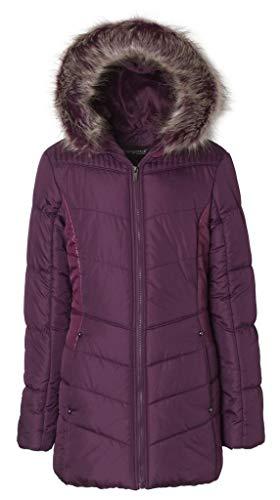 Sportoli Junior Women's Winter Plush Lined Midlength Puffer Coat with Fur Trimmed Hood - Bramble Wine (Large)