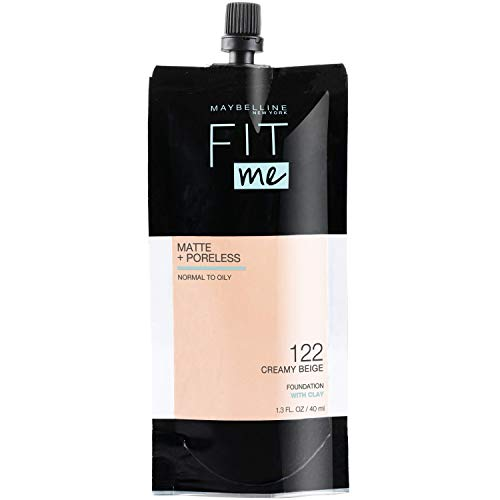 Maybelline New York Maybelline Fit Me Matte + Poreless Liquid Foundation, Face Makeup, Mess-Free No Waste Pouch Format, Normal to Oily Skin Types, 122 CREAMY BEIGE, 1.3 Fl Oz