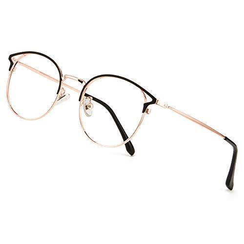 Cyxus Blaulichtfilter Brille Damen mit Katzenauge, Rund Mode Vintage Brille Ohne Stärke, Anti Schädliches Blaulicht UV400 von Handy, Computer,roségold