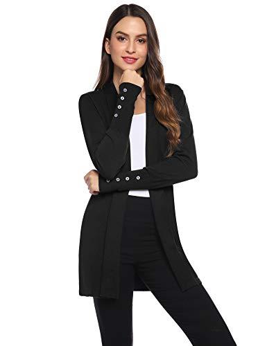 Gilet Femme Tricot Veste Longue Femme Cardigan Long Manches Longues Casual Ouvert Hiver Automne Printemps Vintage,Noir,S