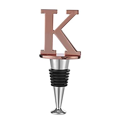 C&L Wine and Beverage Bottle Stopper With Rose Gold Finish, K-Initial (Letter K)