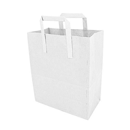 Weiß Papier Klebeband Griff Tragetaschen groß (25,4x 30,5x 14cm) 50 Stück