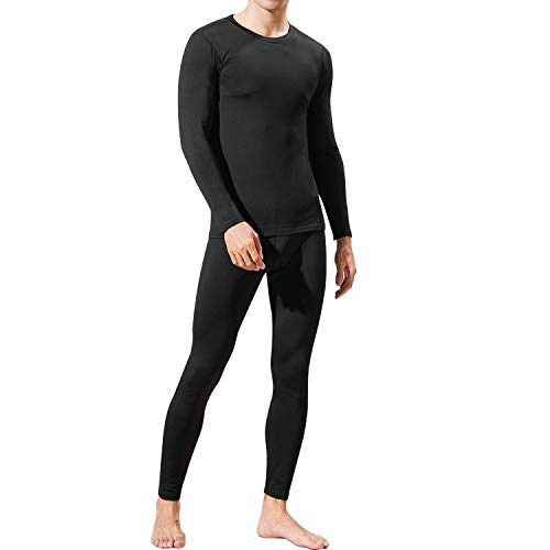 Mens Thermal Underwear Set Winter Warm Base Layers Tight Long Johns Tops and Bottom Set with Soft Fabric M