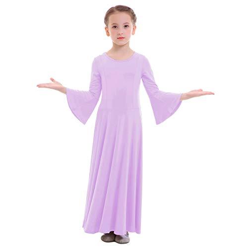 OBEEII Niñas Vestido Liturgico Danza Maillot Leotardo Gimnasia Disfraz de Baile Clásica Combinación para Danza Iglesia Ceremonia Casual 003 Morado Claro 13-14 Años