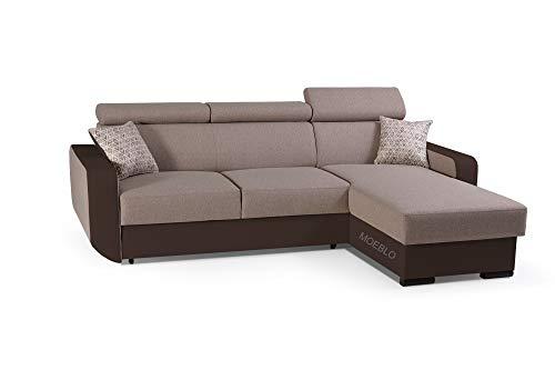 mb-moebel Ecksofa mit Schlaffunktion Eckcouch mit Bettkasten Sofa Couch Wohnlandschaft L-Form Polsterecke Pedro (Toffi, Ecksofa Rechts)