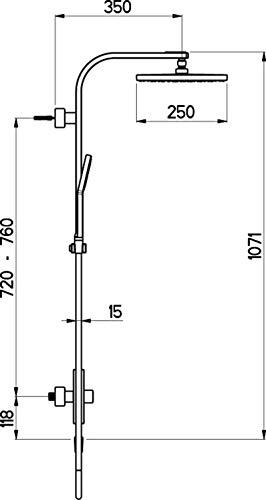 UP-Duschsystem Pure KB 250 Schl.150cm Handbrause Pure 105 Nikles