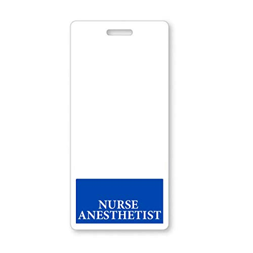 Nurse Anesthetist Badge Buddy - Heavy Duty Vertical Badge Buddies for Anesthesia Nurses - Spill & Tear Proof Cards - 2 Sided USA Printed Quick Role Identifier ID Tag Backer by Specialist ID