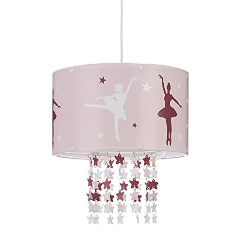 Relaxdays 10022847 Lampadario da soffitto per bambina lampada a sospensione da bambini con ballerina stelle mobili cameretta rosa