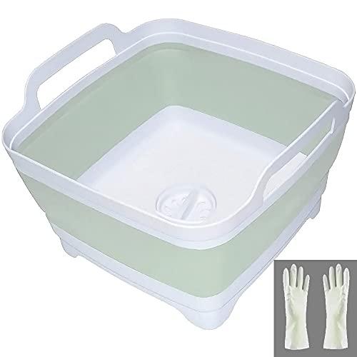 食器洗面器 折りたたみ式 排水プラグキャリーハンドル付き 9.3L(2.46ガロン) 容量9.3L(2.46ガロン) 折りたたみ式シンク浴槽 食器洗面台 ポータブルディッシュタブ 折りたたみ式食器 キャンプ 食器洗い 浴槽 RVシンク (グリーン)