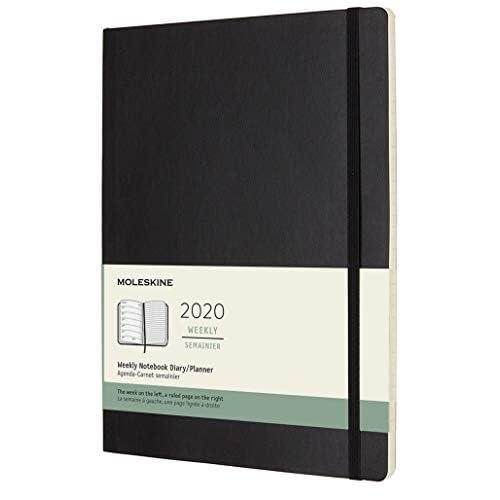 Moleskine 12 Mesi 2020 Agenda Settimanale, Copertina Morbida e Chiusura ad Elastico, Colore Nero, Dimensione Extra Large 19 x 25 cm, 144 Pagine