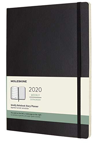 Moleskine Wochen Notizkalender, Taschenkalender, 12 Monate, 2020, Xlarge, Soft Cover, Schwarz
