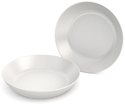Ornamin Teller tief Ø 15 cm weiß 2er-Set Melamin (Modell 415) / Kunststoffteller, Servierschälchen, Müslischale