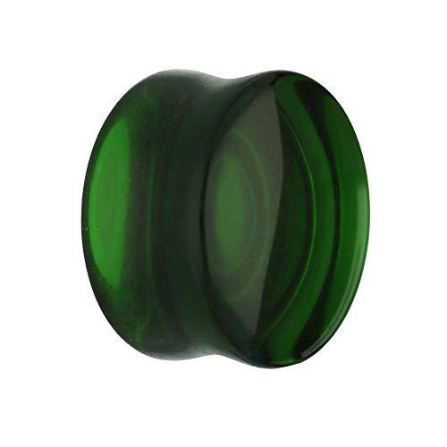 Treuheld® | 10mm Glas Ohr Plug/Flesh Tunnel | Dunkel-Grün | Double Flared | Ohne Gewinde | Damen und Herren | halb-durchsichtig/transparent
