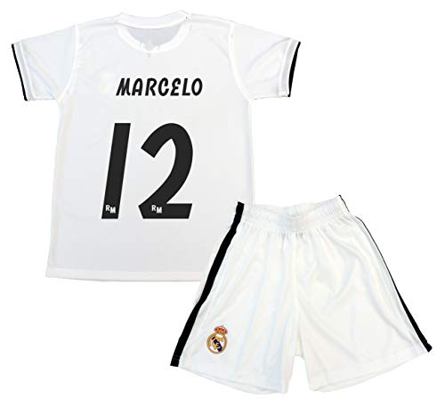 Real Madrid Kinder Trikot und Hose Marcelo, offizielles Lizenzprodukt, Saison 2018-2019 (Weiß, Größe 14)