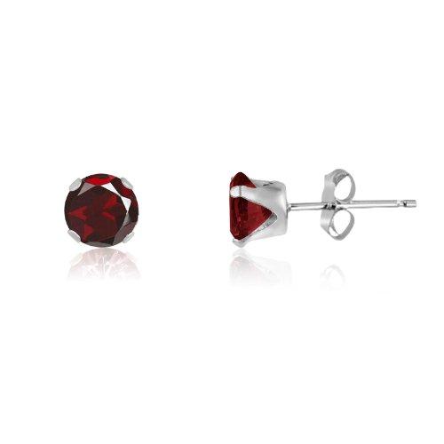 Kezef Runde 4 mm echter roter Granat 925 Sterling Silber Ohrstecker
