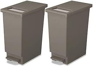 新輝合成 フタ付きゴミ箱 ユニード ゴミ箱 ペダル プッシュ ペール ブラウン 2個セット 45L