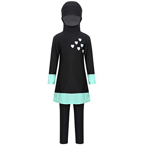 FEESHOW Mädchen Muslimische Bademode Kinder Burkini Bescheidenen Islamischen Badeanzug Full Cover Muslim Swimwear kleine Herzen Gedruckt Schwarz+Turkis 140-152