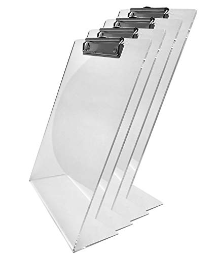 Stanley Acrylic Desktop Standing Paper/Document Holder, Free Standing Clipboard, Clear Color,A4/ Letter Size, Pack of 4