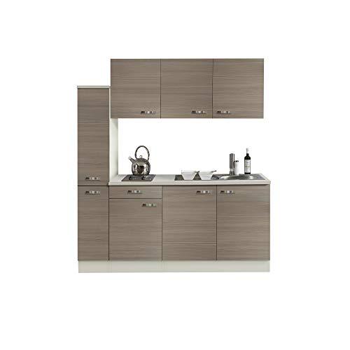Singleküche TOLEDO | Miniküche mit Elektro-Kochfeld und Spüle | Breite 180 cm | Pinie Nougat/Champagner