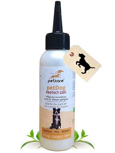 Peticare Spezial Pflege für Hunde bei Juckreiz, Milben, Gras-Milben, Flöhe, Pilz - Pflegt bei starkem Jucken, Scheuern und Kratzen, pflegt die Hunde-Haut - petDog Protect 2201