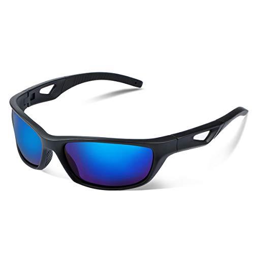 Vimbloom Sonnenbrille Herren Polarisierte Sportbrille Fahrradbrille mit UV 400 Schutz Autofahren Laufen Radfahren Angeln Golf für Herren Damen VI685 (SchwarzeMatteBlaue)