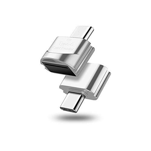 litty089 Lector de tarjetas de alta velocidad Micro-USB/Tipo-C lector de tarjetas de memoria TF Micro-SD OTG adaptador de teléfono plateado Micro USB