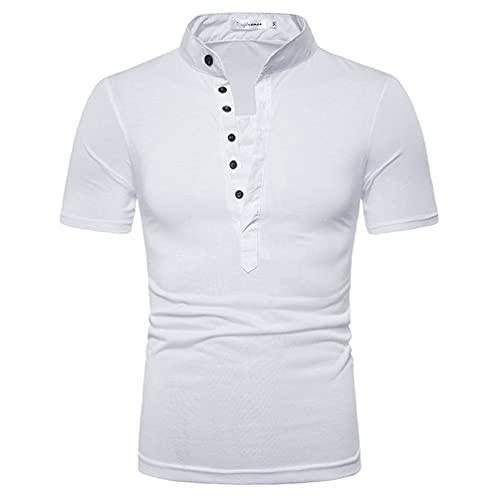 Camisa Henley Hombre Slim Fit Verano Manga Corta Camiseta Básica Hombre Tapeta con Botones Color Liso Clásico Hombre Polo Shirt Sport Casual Golf Camisa Deportiva Hombre F-White M