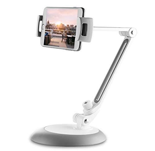タブレットスタンド スマートフォンスタンド 卓上 360度回転 角度自由に調整 20cmまで対応
