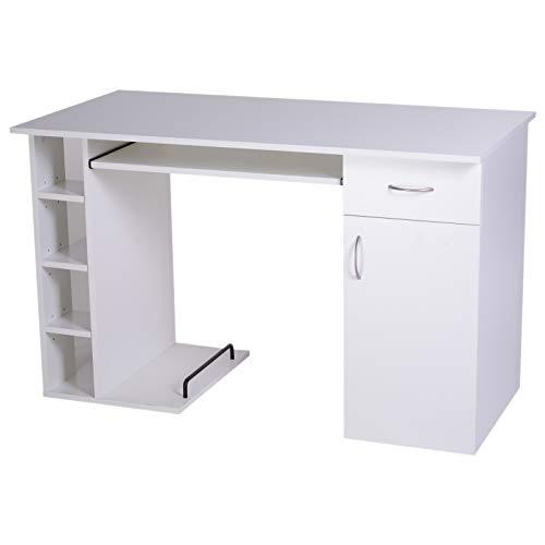 Mesa de PC Mesa de Ordenador Escritorio de Oficina Mesa con Estantes para Hogar Escuela y Oficina Mobiliario 120x60x74cm Blanco