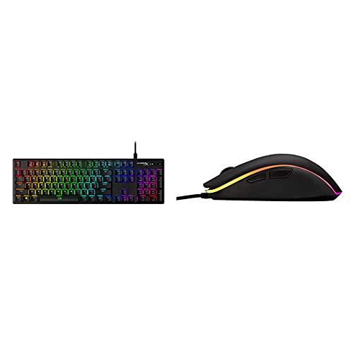 HyperX Alloy Origins - Mechanical Gaming Keyboard, Software-Controlled Light & Macro Customization & Pulsefire Surge - RGB Wired Optical Gaming Mouse, Pixart 3389 Sensor up to 16000 DPI - Black
