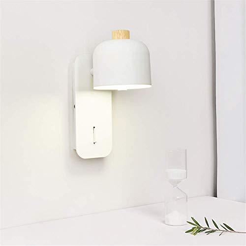 ZGYZ Aplique, Aplique Moderno Simple Sombra 360 & deg; Ajustable con Interruptor Estudio Oficina Lámpara de Lectura Junto a la Cama Lámpara de Pared LED de Madera y Hierro Forjado Blanco para la casa