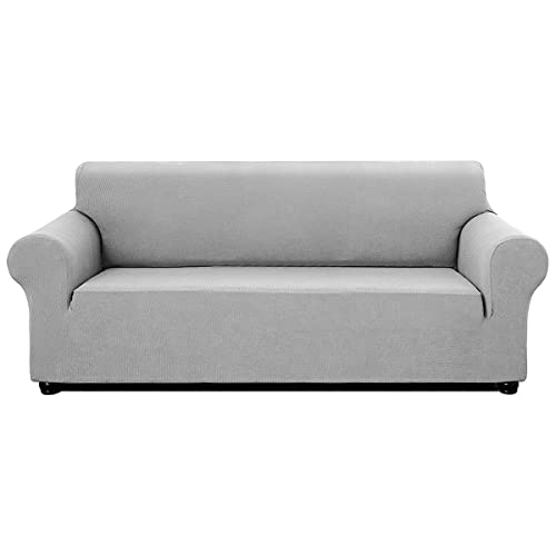 INFANZIA Premium Sofa Covers Protector for Oversize sofa, Super Stretch Couch Cover 3 Seater with Anti-slip Foam Strips & Elastic Band – Perfect for Home Decoration (Light Grey,190-245cm)