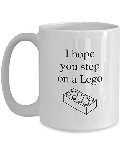 Espero que pises una divertida taza sarcástica de regalo de L-e-go Taza de café