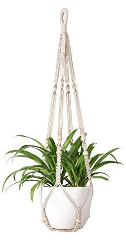 Mkouo Makramee Pflanzenhanger Innen Hangender Pflanzerkorb mit Holzperlen Blumentopfhalter Baumwollseil Keine Quasten Boho Home Decor, 89cm