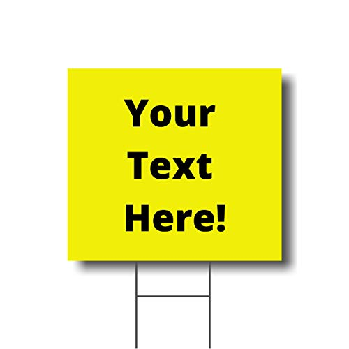 Namify Custom Yellow Yard Signs | Durable Outdoor Sign | Personalize Your Own Sign | 19'' by 17.5'' Sign | Comes with Metal Wire Stand