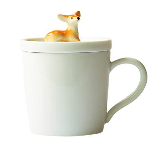 ZYCH Tazza da caffè 3D con Carino figurina Cervo Sika Coperchio Cinese Jingdezhen Tazza da tè in Ceramica per Home Office e Regalo Mamma Bambino (Bianco)