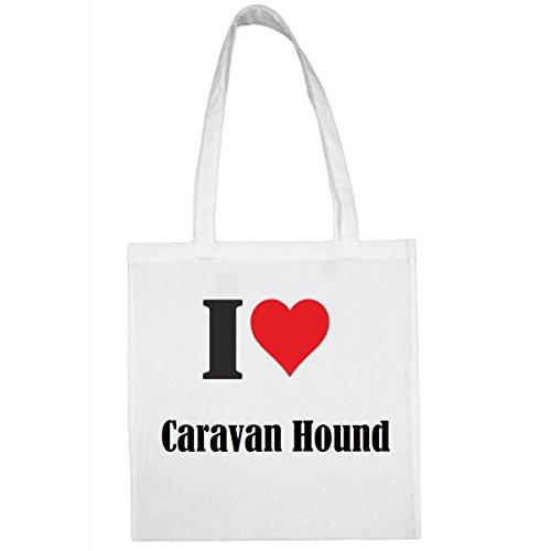 Tasche I Love Caravan Hound Größe 38x42 Farbe Weiss Druck Schwarz
