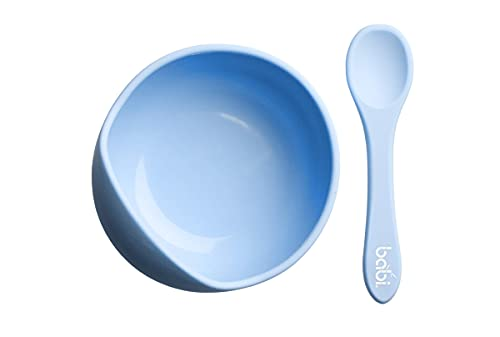Babi Baby Toddler Suction Bowl & Matching Spoon Set, 100% Food Grade Silicone, with Stay Put Silicone Suction (Blue)